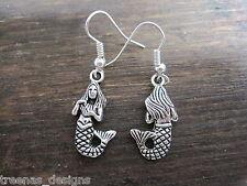 *MERMAID GIRL* Tibetan Silver Plated Earrings Nautical Sailor Jerry TATTOO