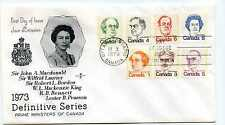 Canada 586//93 1973 Definitive Series, Prime Ministers, RoseCraft on one FDC