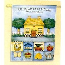"Thoughts of Home Quote Garden Flag by Toland Country Cottage 24"" x 36"" Last One"