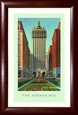 "New York PARK AVENUE Skyline ""The Avenue NYC"" Framed Poster 13.5x19.5"""