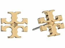 Auth New Tory Burch T-Logo Stud Earrings 16k Gold on Card with Dust Cover SALE!