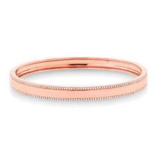 Womens 14K Rose Gold Round Diamond ID Bangle, Diamond ID Bangle Cuff Bracelet