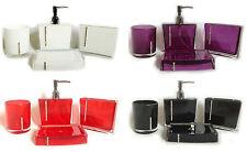 Bathroom Accessory Set 4pc Diamante Soap Dish DispenserTumbler Toothbrush Holder
