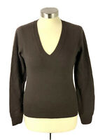 NEIMAN MARCUS Cashmere Pullover Sweater Womens Size S Brown V Neck