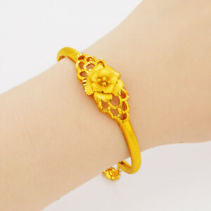 Women's Flower Bangle Bracelet 18k Yellow Gold Filled GF Fashion Gift Jewelry