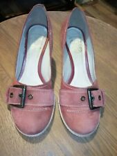 Ladies Clarks Red Suede Shoes With Buckle