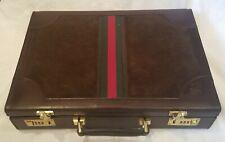 Replica Gucci Italy Brown Rustic 2 Tone Leather / Suede Hard Attache Case Men's