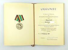 #e6777 DDR Urkunde: Medaille für 20 jährige Dienstzeit bei der NVA 1968
