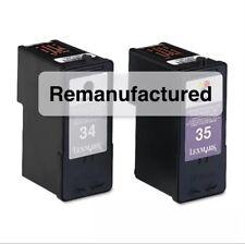 Rem Lexmark 34 18C0034 black & 35 18C0035 color ink cartridges for X3550