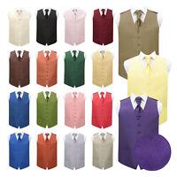 Mens Waistcoat & Cravat Set Plain Shantung Formal Wedding Tuxedo Vest by DQT
