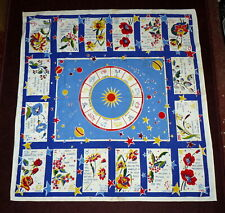 1950s Vintage : ZODIAC small TABLE tablecloth ASTRONOMY & ASTROLOGY @ Mystic