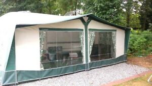BRADCOT CLASSIC GREEN AWNING SIZE 12 925-950 CM + POLES & CURTAINS VGC