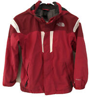 The North Face HyVent Full Zip Hooded Rain Jacket Boys sz 10/12 M Red/White