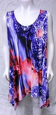 Double point irregular hem travel fabric tank top blue & coral floral Jostar M