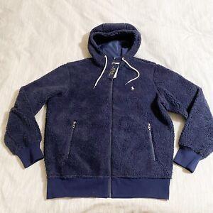 Polo Ralph Lauren Men's Navy Sherpa Fleece Full Zip Hooded Jacket Sz XL