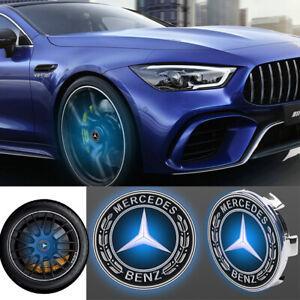 4xFloating LED Wheel Rim Center Cap 75mm Fit For Mercedes-Benz Emblem Logo Badge