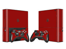 XBOX 360 E Skin Sticker Decal Cover + 2 Controllers SOLID RED