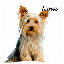 coussin carré satin chien york personnalisé prénom au choix réf 197