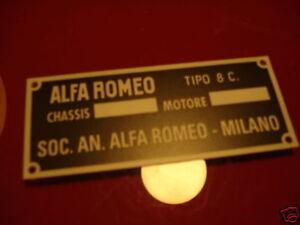 Alfa Romeo Nameplate Tipo 8C. 8 C