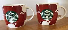 2 ☕ 14oz Ceramic Red Circles/white, Beverage/Coffee/Tea/Cocoa Mug/Cup Starbucks