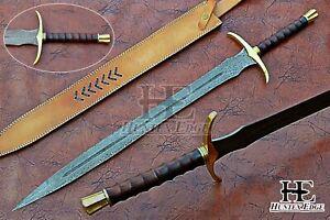 HUNTEX Custom Handmade Damascus 810 mm Long Rosewood Handle Viking Short Sword