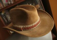 YA Beige Tan Fake Suede Longhorn Ranch Rodeo Hat Western Cowboy Cattleman Vegan