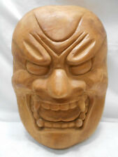 Mask Large Solid Wooden Devil Lucifer Vintage Hand Made Unique Display #171