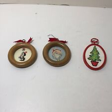 3 Assorted Cross Stitch Christmas Ornaments Tree Santa Penquin