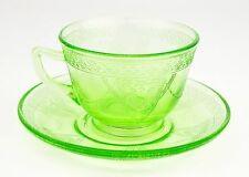 Georgian Love Birds Federal Glass Company Depression Green Tea Cup and Saucer