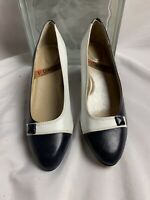 I Love Comfort Women's Shoes Pumps Low Heels Blue White Slip On Size 6.5