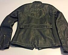 Harley Davidson Leather Eclipse HD Bling Crystals Black Jacket Sz XS Full Zip