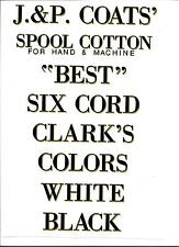 J & P COATS SPOOL CABINET LABEL 8 PIECE SET / BLACK LETTERS with GOLD SHADOW.