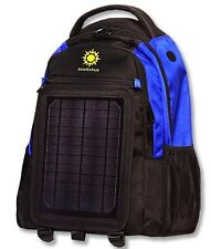Blue / Black SolarGoPack Backpack 10k mAh battery 7-Watt Solar Panel Back Pack