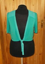 PER UNA jade green turquoise shortsleeve chiffon pleat tie-front cardigan top 16