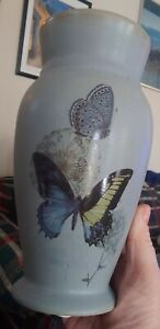 Pretty Vintage Blue Ceramic Pitcher Vase Butterflies Hand-Painted Collectible!