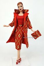 Red Dress Outfit Gown Coat FoR Silkstone Barbie Fashion Royalty Vintage Repro