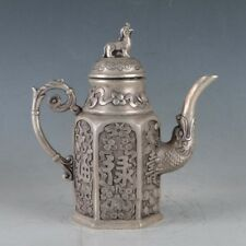 Exquisite CHINESE OLD SILVER COPPER MADE 福禄寿 TEAPOT&BRAVE TROOPS LID