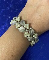 Vtg Trifari Silver Tone Pearl & Rhinestone Bracelet