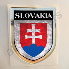 Slovakia Sticker Coat of Arms Resin Domed Stickers Flag Grunge 3D Adhesive Car