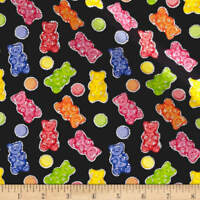 Gummy Glitter Bears Toss on Black Fabric Tradition 100% cotton by the yard