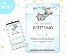 invito Digitale battesimo dumbo compleanno personalizzato  jpg invio 24 ore