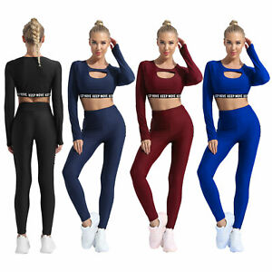 Women Letter Print Tracksuit Gym Outfit Round Neck Long Sleeve Crop Top Leggings