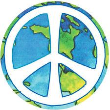 Peace Sign Over Earth - Small Bumper Sticker / Decal