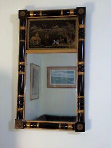 Vintage Historic Barrett Group Reverse Painted Mirror Albert M Lock Boston