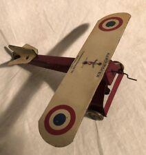 FERDINAND STRAUSS AERO-RACER Tin toy rubber band airplane 1930's Silver Arrow