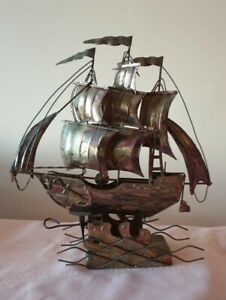 "Vintage Copper musical Schooner ship Berkley Design12""tallx11""widex3""deep 50-60s"