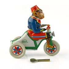 1 x Vintage Wind Up Circus Monkey Ride a Car Clockwork w/ Key Tin Toy Xmas Gift