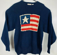 Cotton Traders American Flag Sweater USA Patriotic Mens Sz L Blue Red White EUC