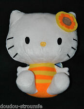 Peluche Doudou Chat HELLO KITTY SANRIO Orange Jaune Aile Bleue 21 Cm Assis TTBE