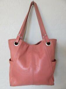 Fossil Tote Bag Peach Leather Handbag